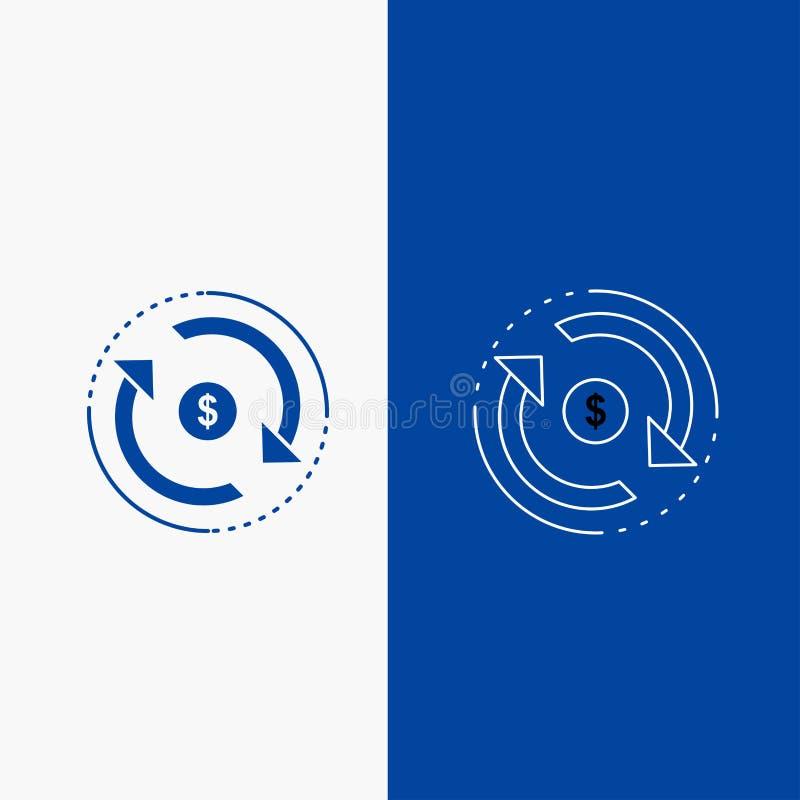 Omloop, financiën, stroom, markt, geldlijn en Glyph-Webknoop in Blauwe kleuren Verticale Banner voor UI en UX, website of mobiel vector illustratie