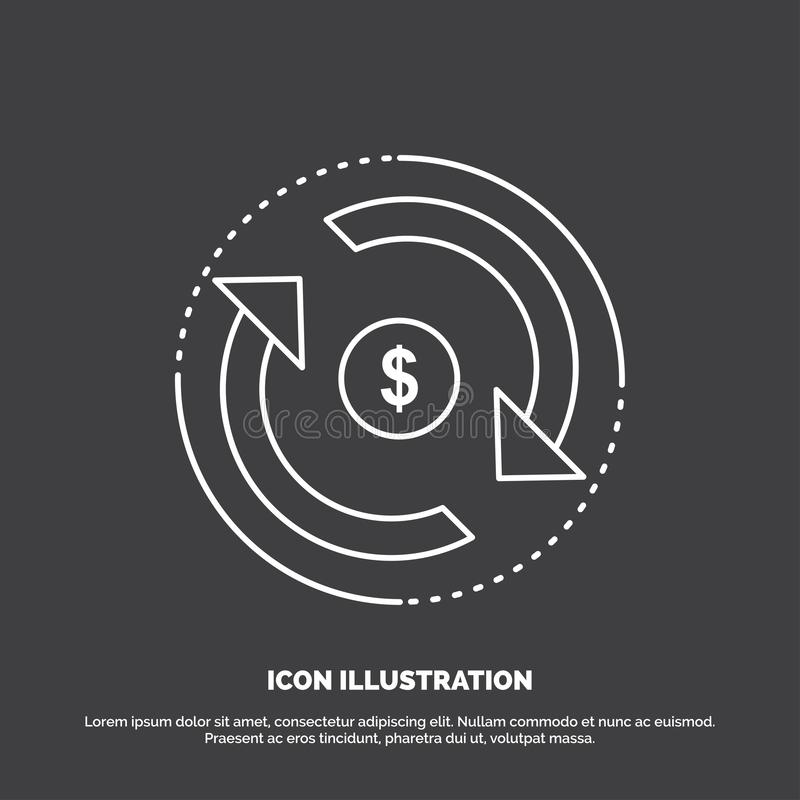 Omloop, financiën, stroom, markt, geldpictogram Lijn vectorsymbool voor UI en UX, website of mobiele toepassing stock illustratie