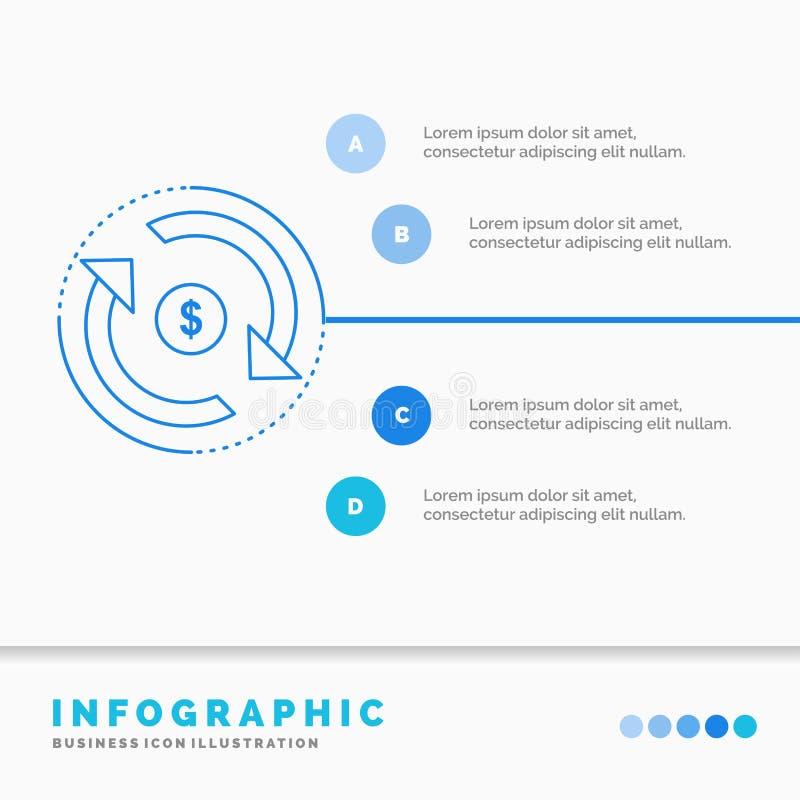 Omloop, financiën, stroom, markt, het Malplaatje van geldinfographics voor Website en Presentatie Infographic stijl van het lijn  royalty-vrije illustratie