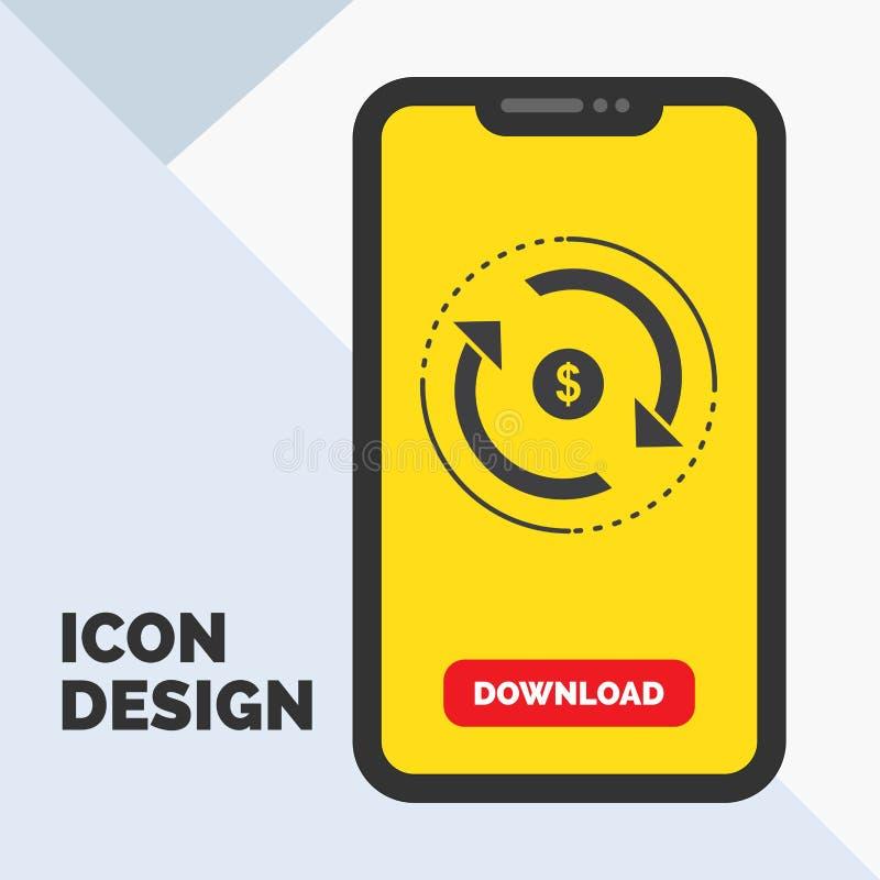 Omloop, financi?n, stroom, markt, het Pictogram van geldglyph in Mobiel voor Downloadpagina Gele achtergrond vector illustratie