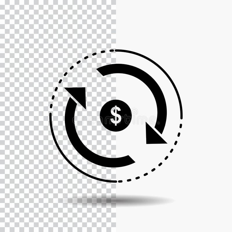 Omloop, financiën, stroom, markt, het Pictogram van geldglyph op Transparante Achtergrond Zwart pictogram stock illustratie
