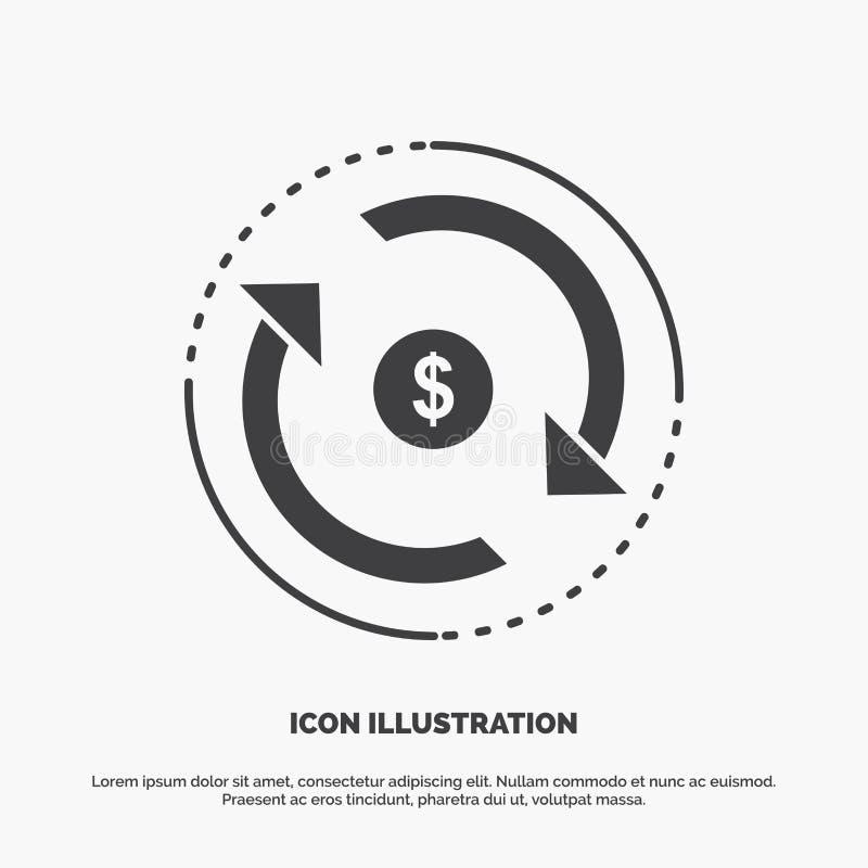 Omloop, financi?n, stroom, markt, geldpictogram glyph vector grijs symbool voor UI en UX, website of mobiele toepassing vector illustratie