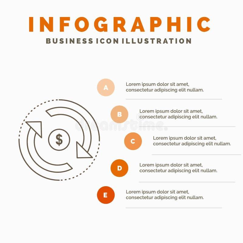 Omloop, financi?n, stroom, markt, het Malplaatje van geldinfographics voor Website en Presentatie Lijn Grijs pictogram met Sinaas stock illustratie