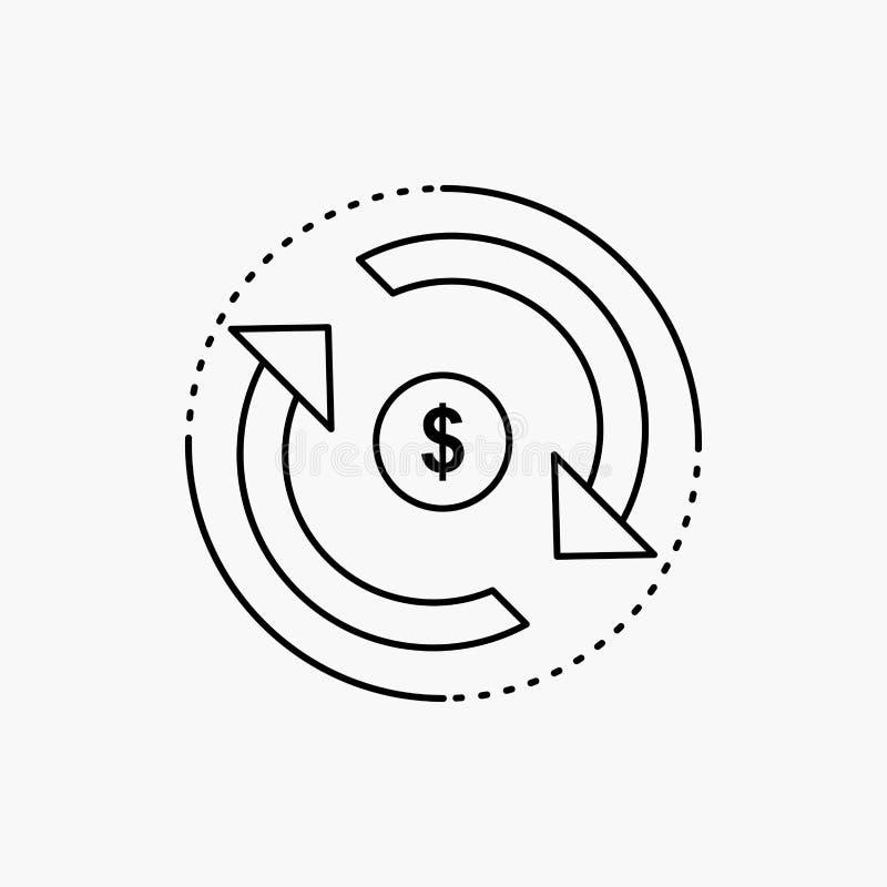 Omloop, financi?n, stroom, markt, het Pictogram van de geldlijn Vector ge?soleerde illustratie stock illustratie