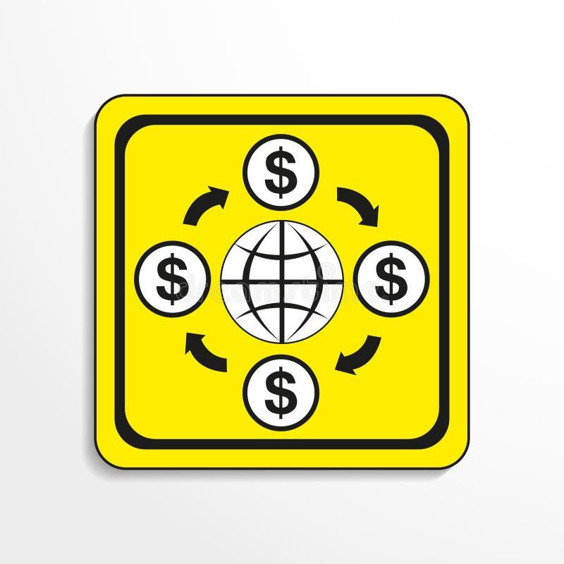 Omloop van geld in de wereld Het pictogram van toestellen Zwart-wit voorwerp op een gele achtergrond vector illustratie