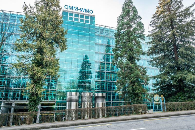 OMM WMO eller huvudkvartersbyggnad för Meteorologiska världsorganisationen i Genève i Schweiz royaltyfri foto