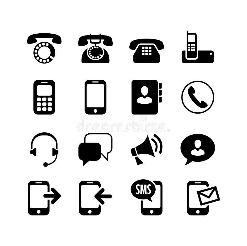 Ommunication del ¡de Ð, llamada, iconos del teléfono fijados ilustración del vector