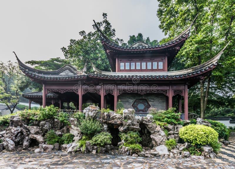 Ommuurd de Stadspark Hong Kong van de pagodetempel Kowloon stock foto