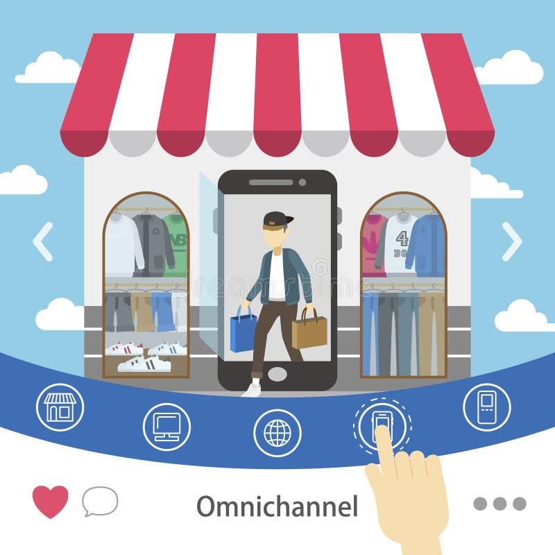 omni-kanaal het winkelen ervaring royalty-vrije illustratie