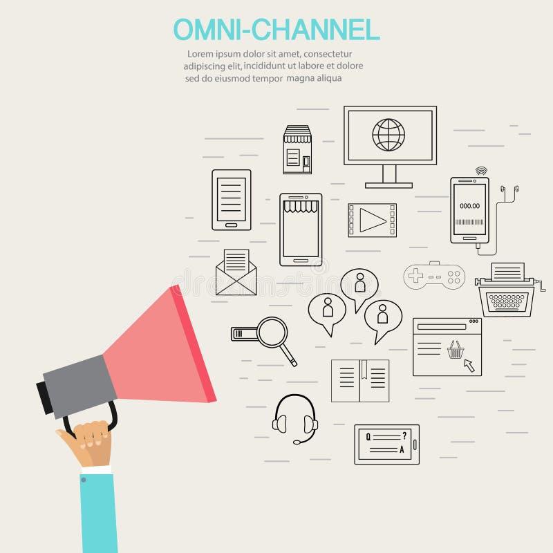 OMNI-kanal begrepp för digital marknadsföring och online-shopping I vektor illustrationer