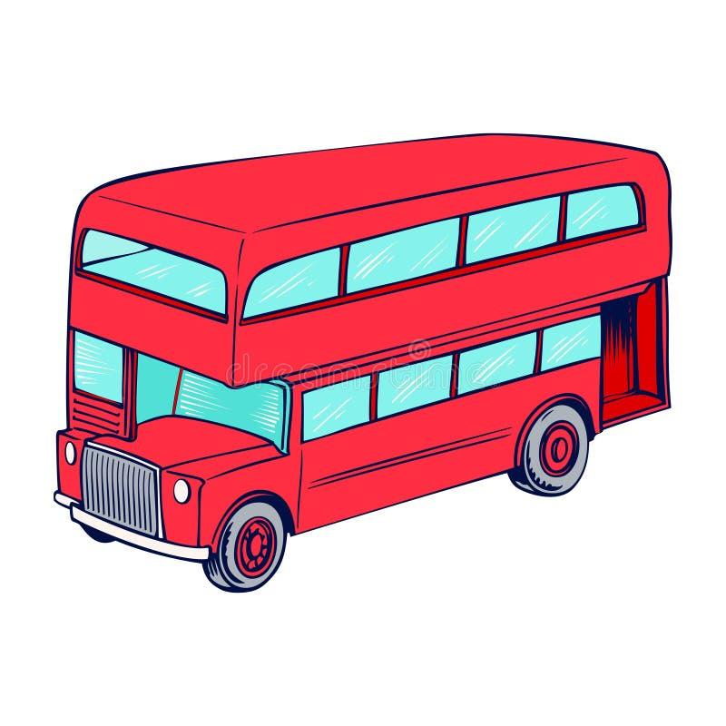 Omnibus del rojo del apilador doble stock de ilustración