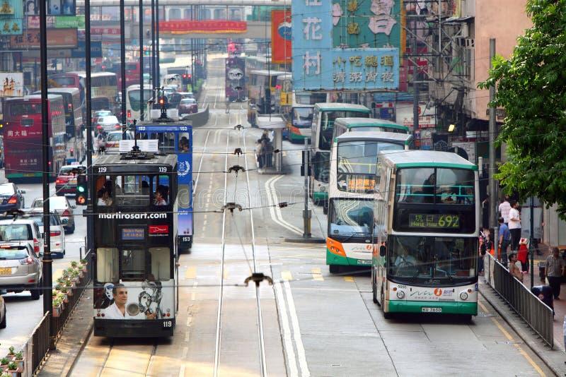 Omnibus y tranvía de Hong-Kong foto de archivo libre de regalías