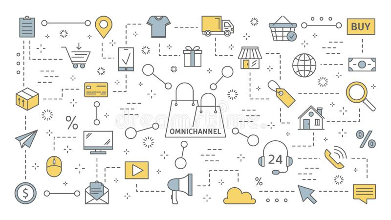 Omnichannel concept. Many communication channels with customer. Online and offline retail helps to grow your business. Set of line icons. Isolated flat vector stock illustration