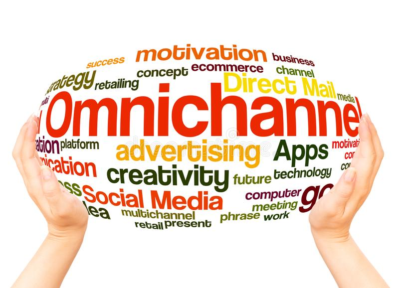 Omnichannel word cloud hand sphere concept royalty free illustration