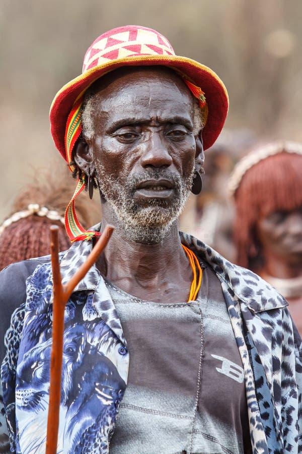 Omo谷的原始哈马尔人在埃塞俄比亚 免版税库存照片