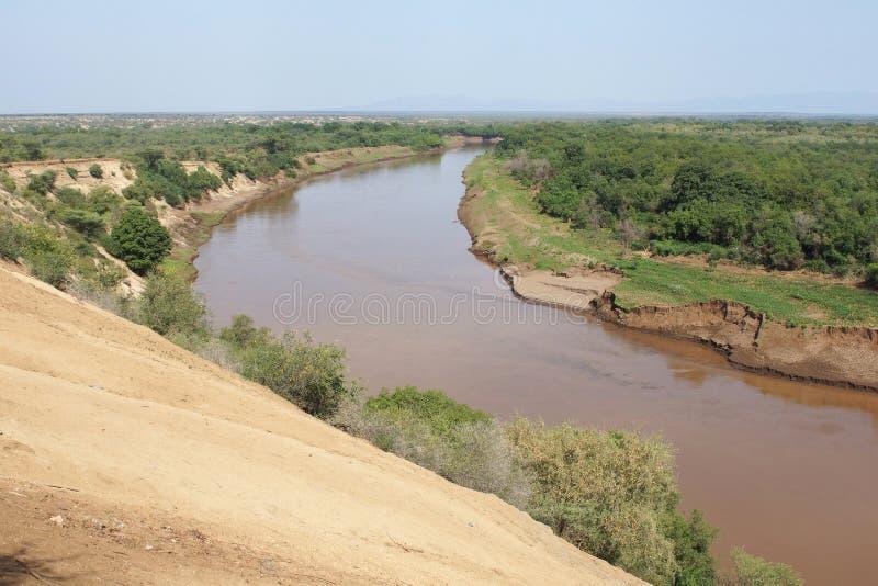 Omo flod, Etiopien, Afrika arkivfoton