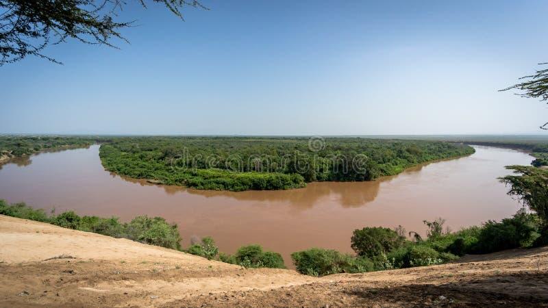 Omo flod - Omorate - Etiopien arkivbilder