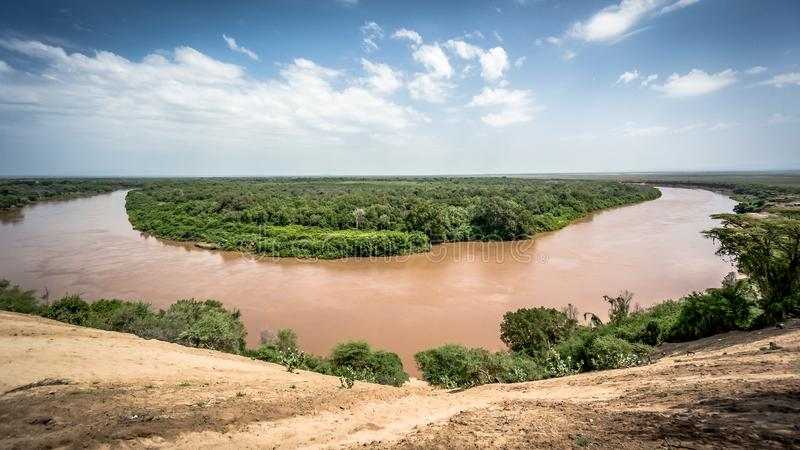Omo river in Omo Valley, Ethiopia royalty free stock photo