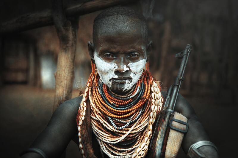 Woman from the African Karo tribe, Ethiopia-ART stock photography