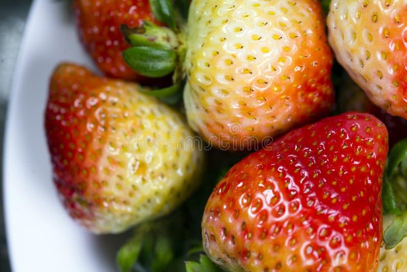 Omogna röda jordgubbar med gröna svansar arkivbilder