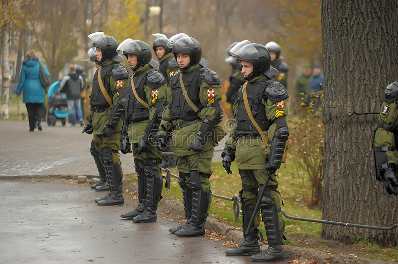 OMON officers stand in cordon stock photo