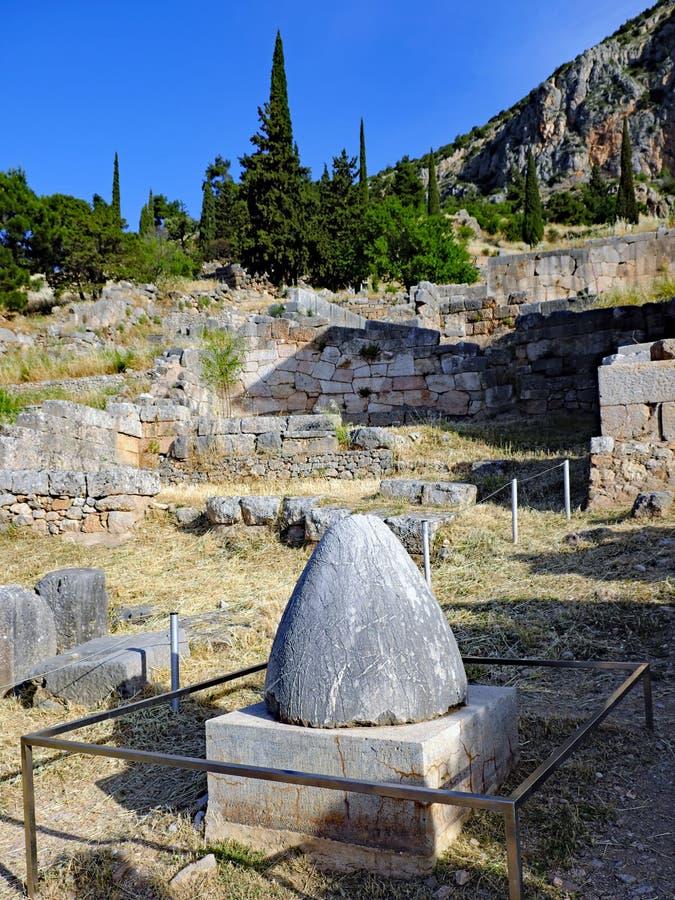 Omphalos kamień, Delphi, Grecja fotografia stock