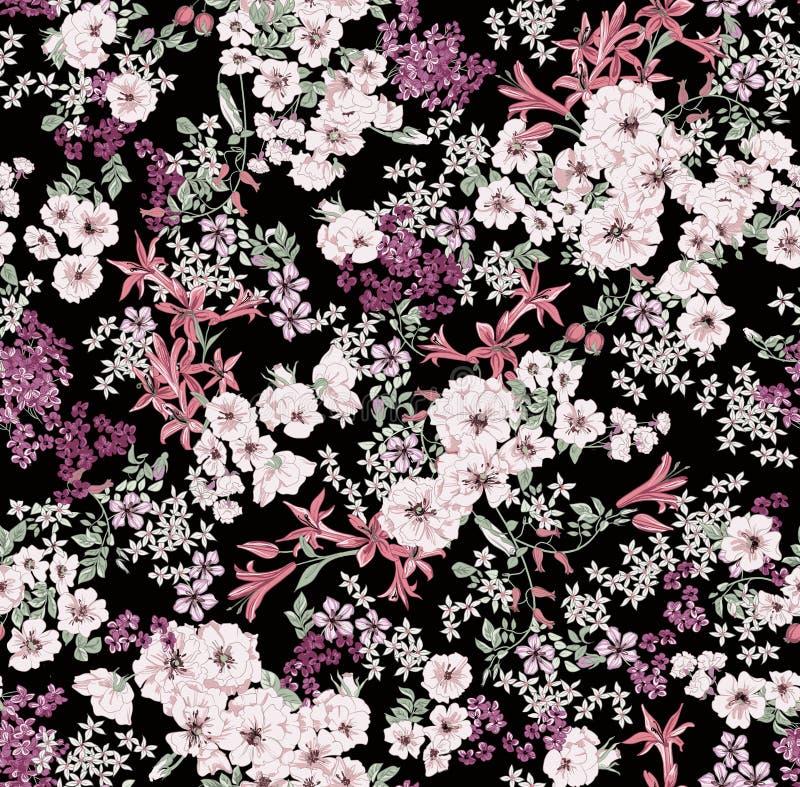 Omposition Ð ¡ των λουλουδιών των διαφορετικών κλιμάκων και των χρωμάτων σε ένα μαύρο υπόβαθρο ελεύθερη απεικόνιση δικαιώματος