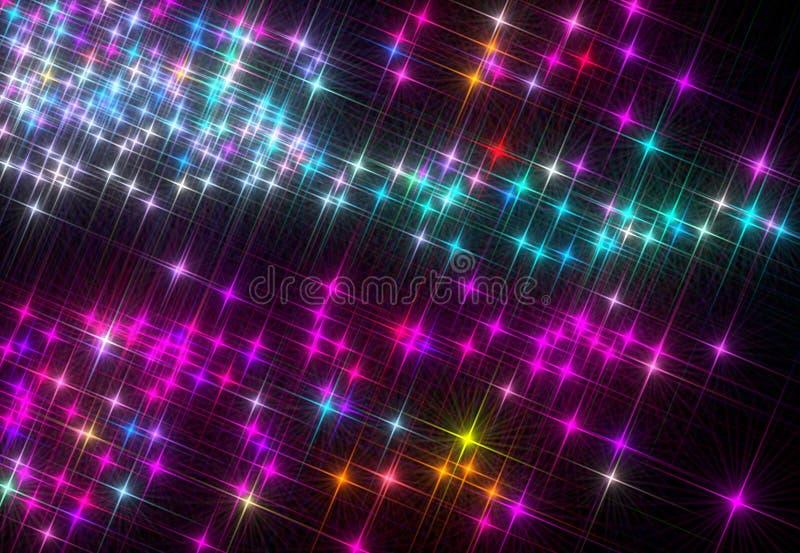 Omposition do ¡ de Ð de brilhar estrelas coloridas em um fundo preto ilustração do vetor