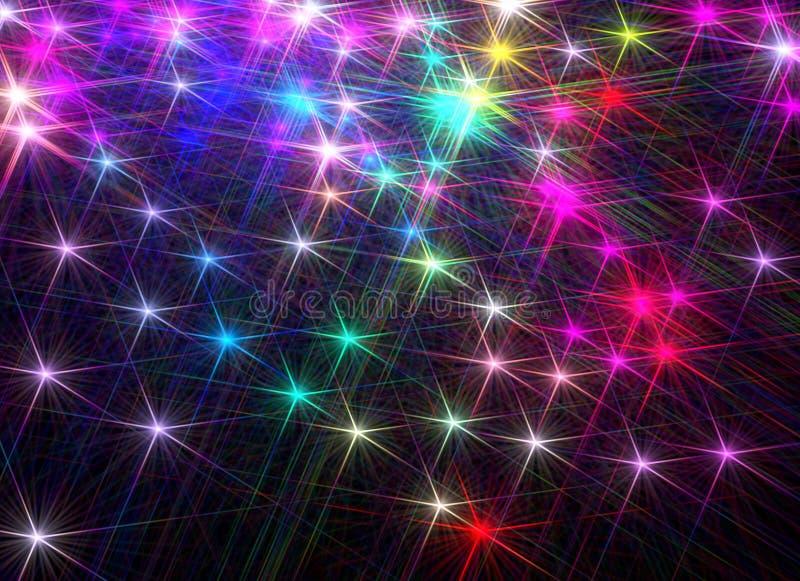 Omposition do ¡ de Ð de brilhar estrelas coloridas em um fundo preto ilustração stock