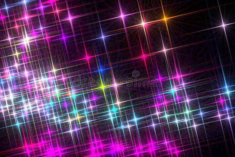 Omposition do ¡ de Ð de brilhar estrelas coloridas em um fundo preto ilustração royalty free