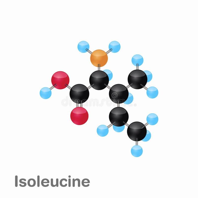 Omposition y estructura moleculares de la isoleucina, Ile, mejor para los libros y la educación ilustración del vector