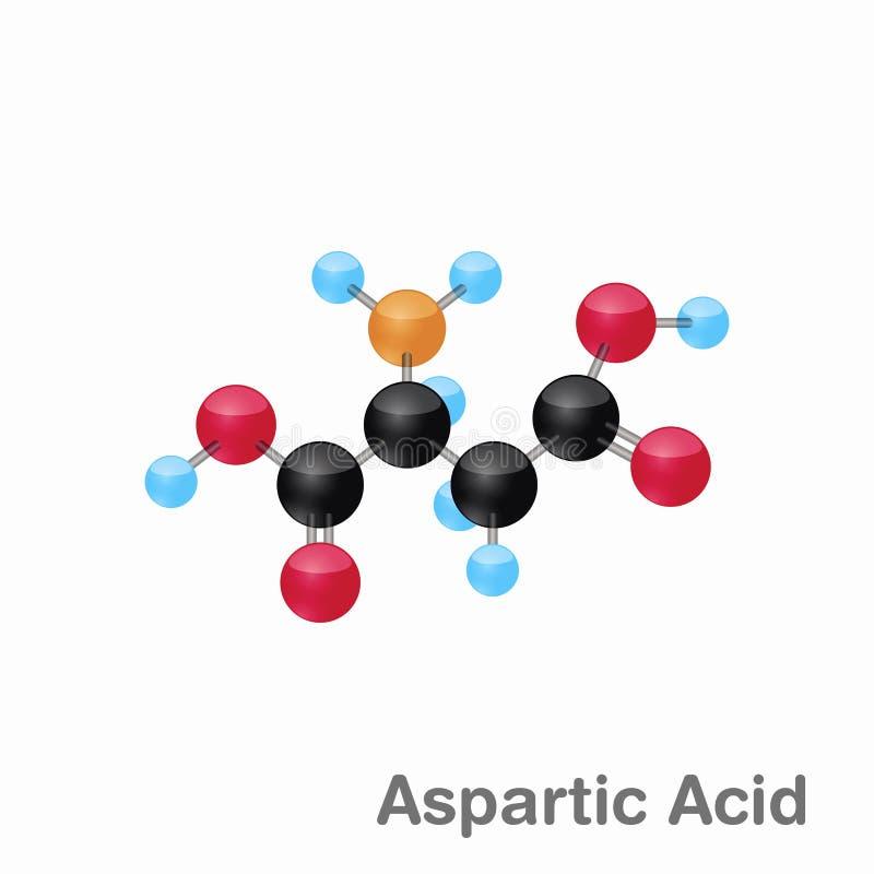 Omposition y estructura moleculares del ácido aspártico, ASP, mejor para los libros y la educación libre illustration