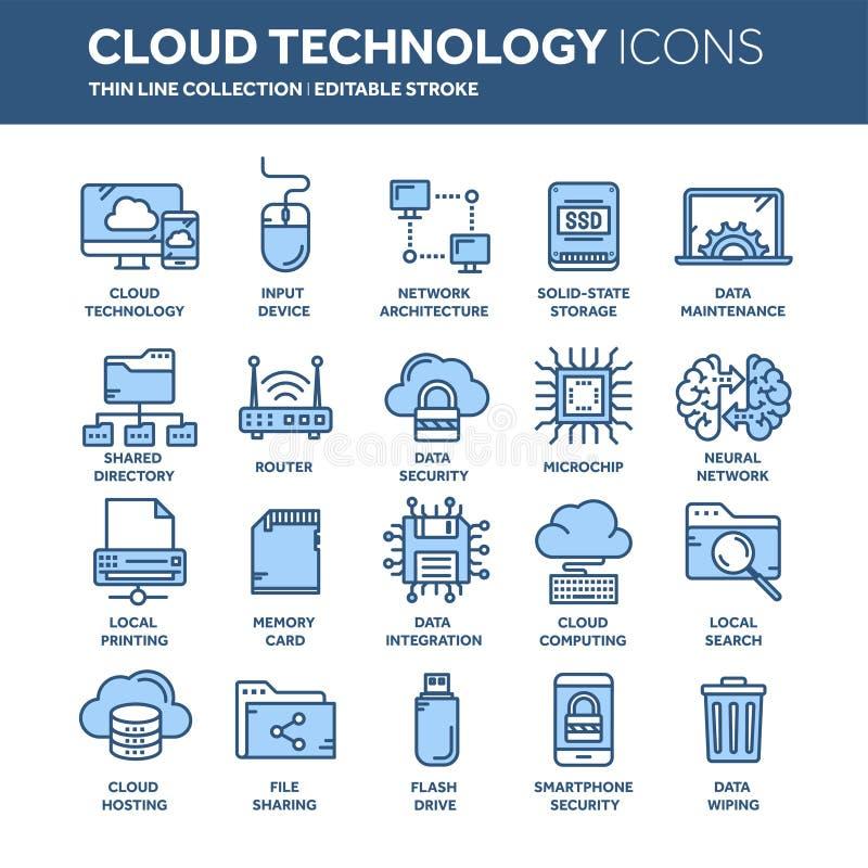 Omputing Wolke Land und Faltblatt hochladen Dateien über dem Internet Online-Services Daten, Informationssicherheit anschluß Dünn vektor abbildung