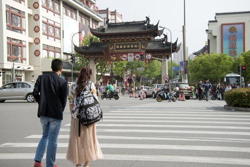 Område av kommersnearg stadsgudtemplet, Shanghai arkivfoto