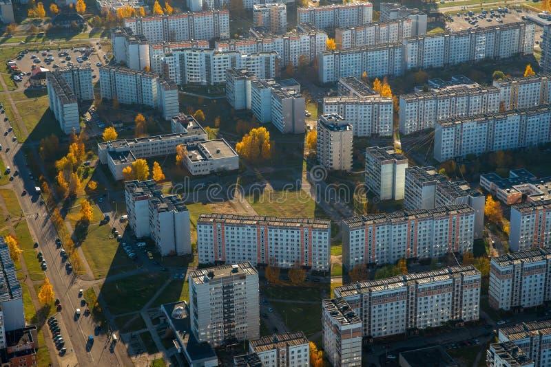 Område av Riga, plavnieki ovanför sikt Flyg- landskap nn arkivfoto