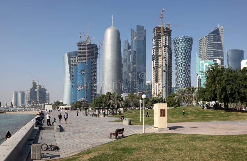 område doha i stadens centrum qatar royaltyfria bilder