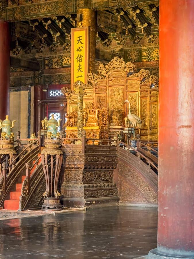 Område för biskopsstol och för domstol för kejsare` s i Hallen av suveräna Harmony Taihedian royaltyfri fotografi