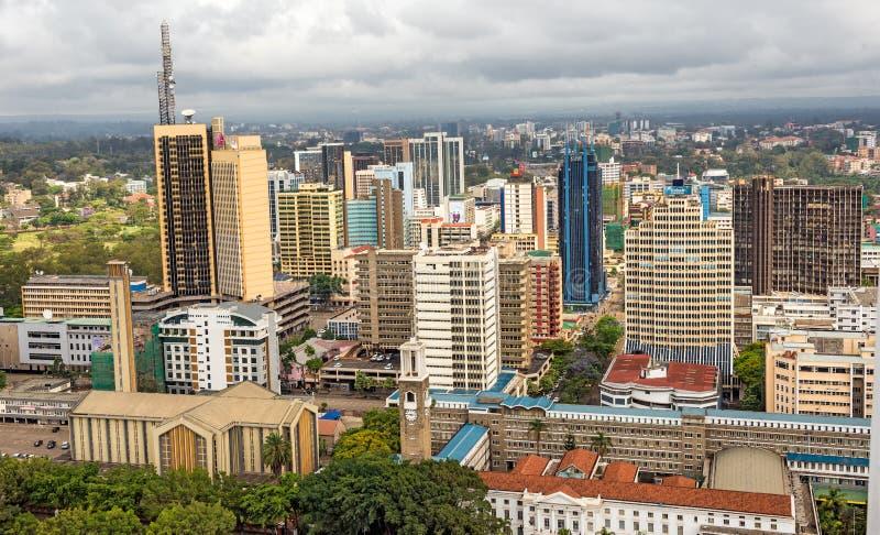 Område för central affär av Nairobi, Kenya arkivbild