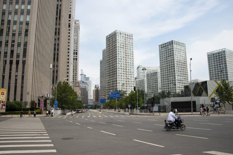 Område för central affär för Asien Peking, Kina, modern arkitektur, många-storied byggnader för stad fotografering för bildbyråer