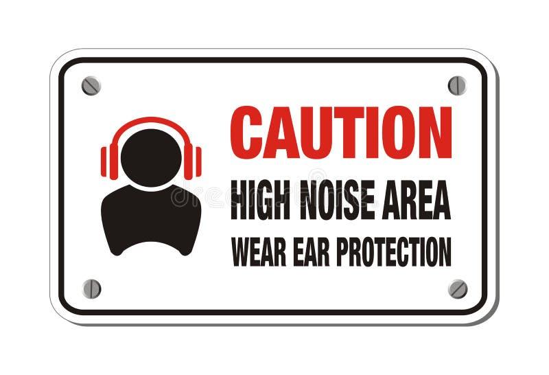 Område för högt oväsen, kläderöraskydd - varna tecknet stock illustrationer