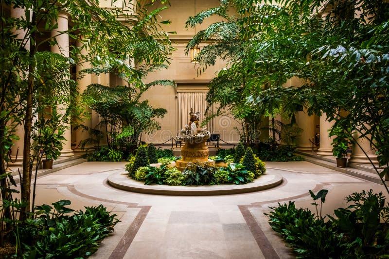 Område för inomhus trädgård i National Gallery av konst i Washington, royaltyfria bilder