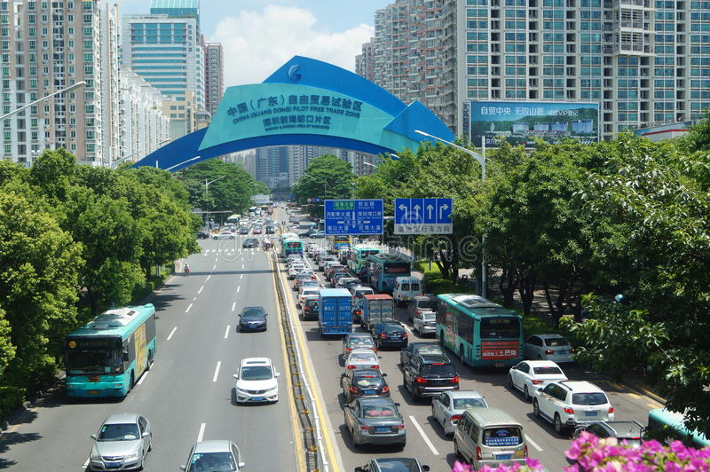 Område för Kina (Guangdong) frihandelexperimenterande, Shenzhen Qianhai Shekou område arkivbilder