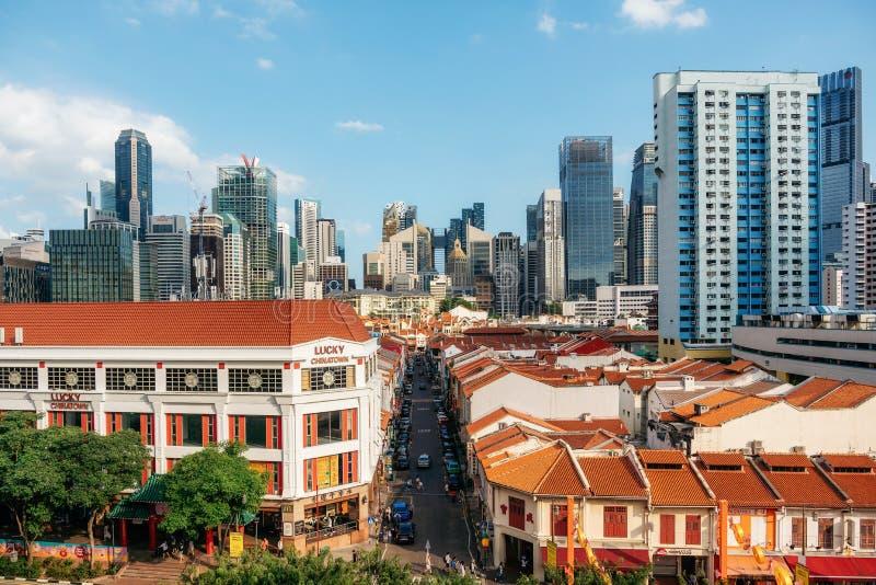 Område för kineskvarter och för central affär i Singapore arkivfoto