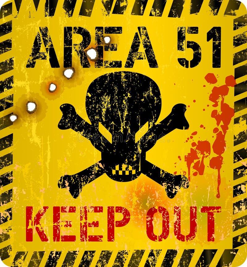 Område femtio ett, tecken för område 51 Grungy varnande tecken, vektorillustration stock illustrationer