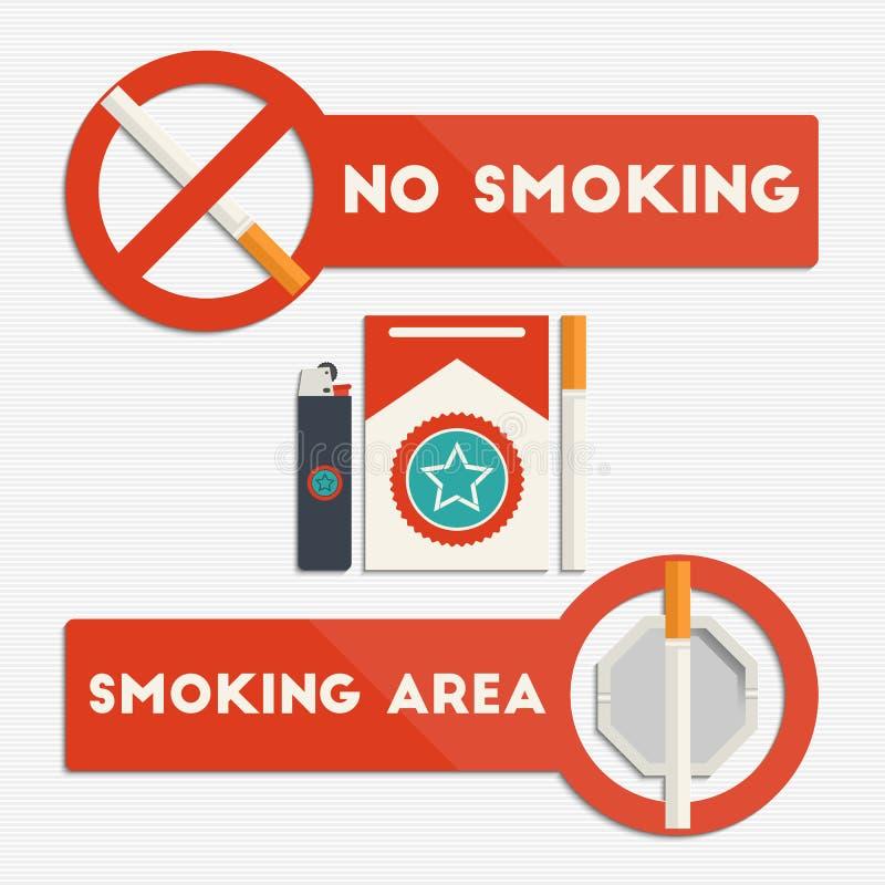 område ingen teckenrökning vektor illustrationer