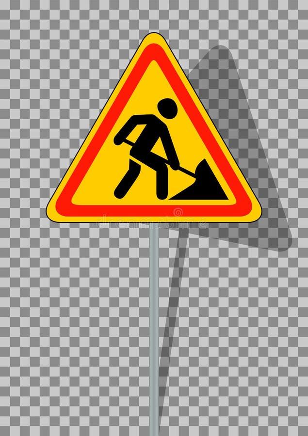 område isolerade gångare förböd upp restricted vägmärken Roadworks på genomskinlig bakgrund royaltyfri illustrationer