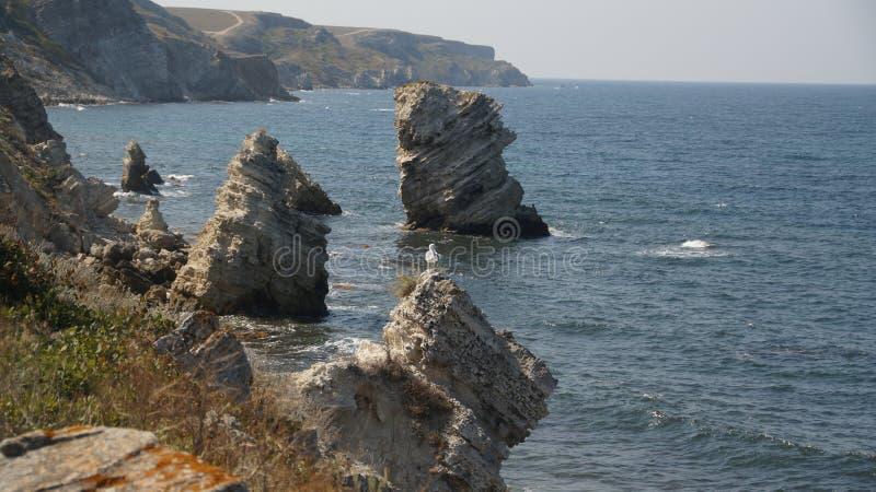 Område Krim Djangul Tarhankut för naturlig reserv arkivbilder