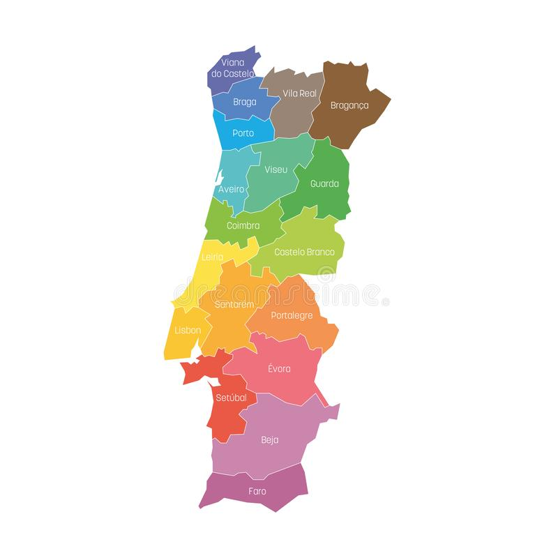 Områden av Portugal ?versikt av administrativa uppdelningar f?r regionalt land vektor f?r semester f?r f?rgrik begreppsillustrati stock illustrationer