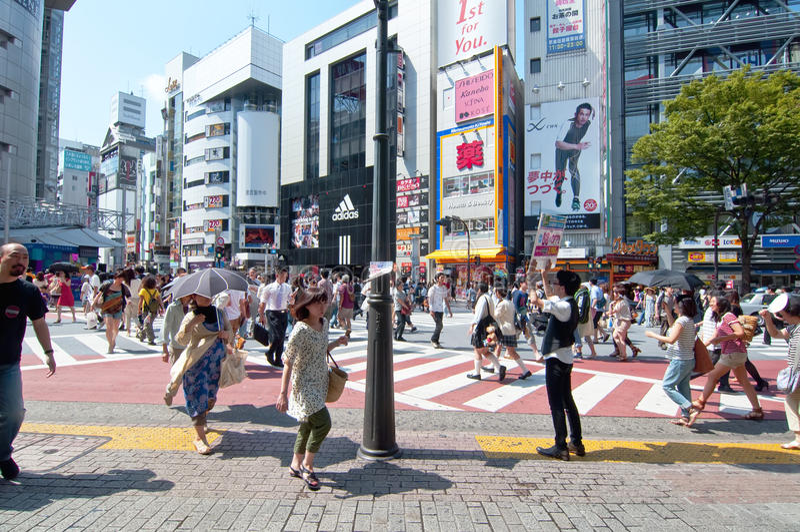 områdesjapan shibuya tokyo royaltyfri bild