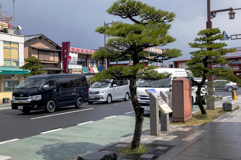 Områdessikt på en modern Iwakuni stad royaltyfria foton